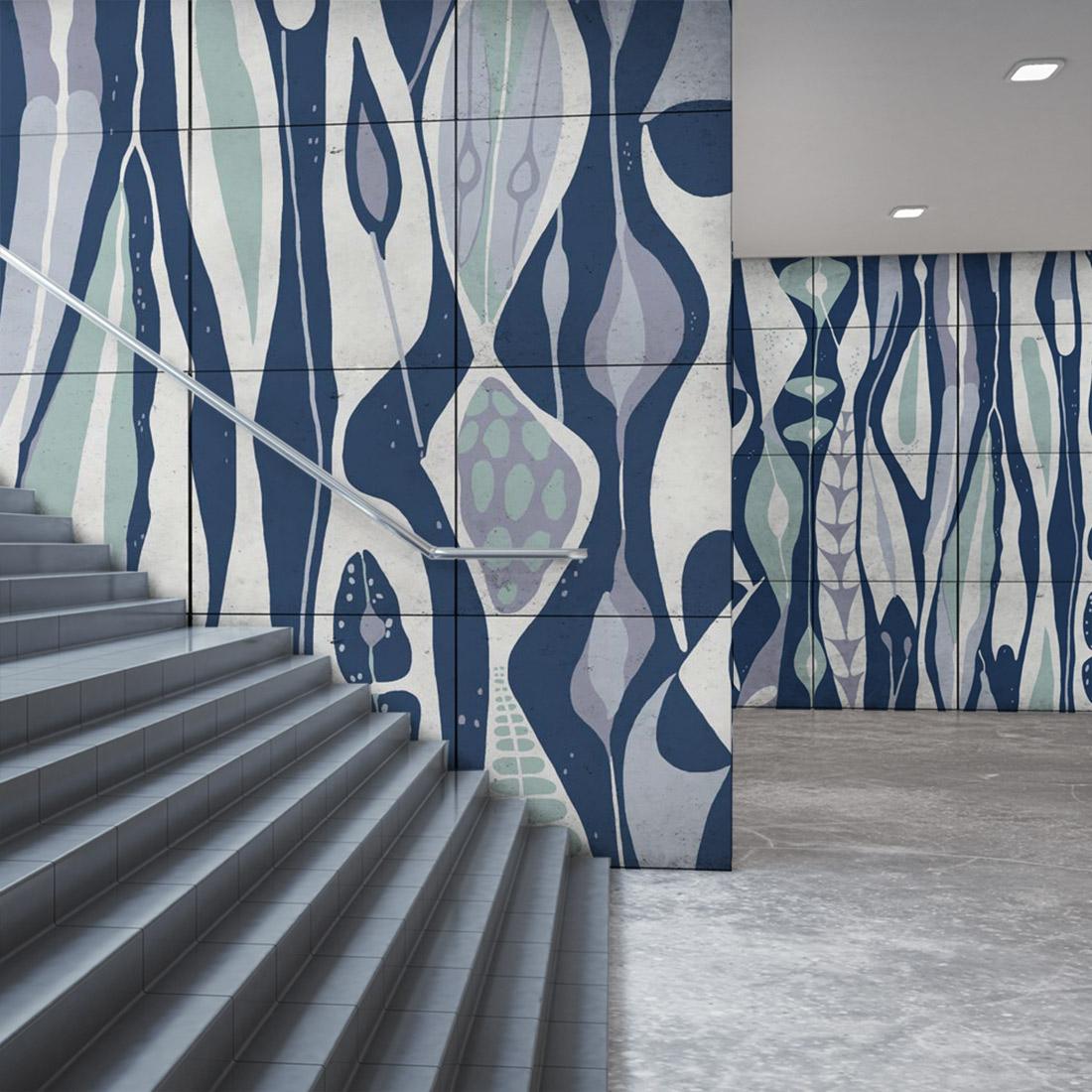 Everstyle designkakel klinker offentlig konst fotokakel inspiration Stig Lindberg Bolbous Blå