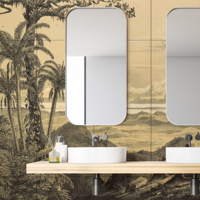 Inspiration badrum wc toalett handfat fotokakel everstyle badrumsdesign badrumsinredning badrumsdrömmar badrumsinspiration