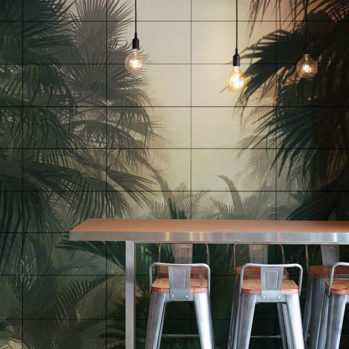 Inspiration cafe inredning restaurang kök kakel djungel dimma natur fotokakel everstyle